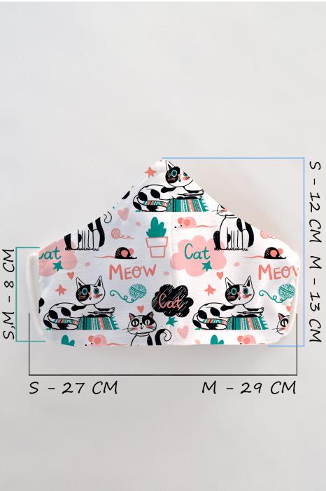 Masca bumbac cu filtru pentru copii - Meow 1