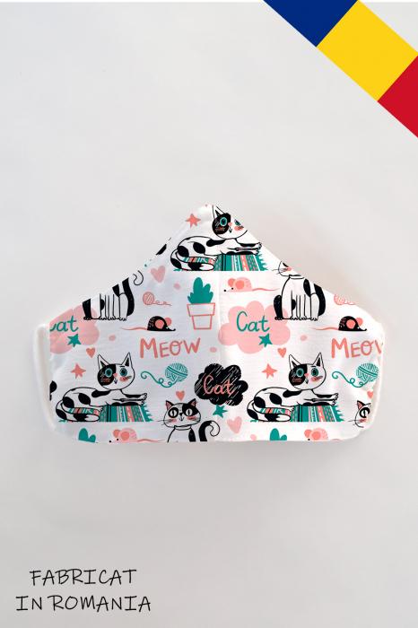 Masca bumbac cu filtru pentru copii - Meow 0