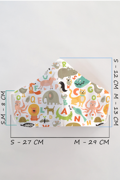 Masca bumbac cu filtru pentru copii - Animale 1