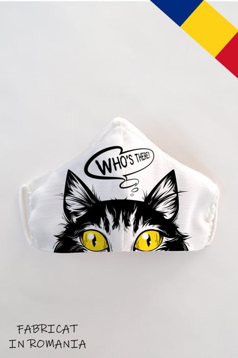 Masca bumbac cu filtru pentru copii - Pisica 0