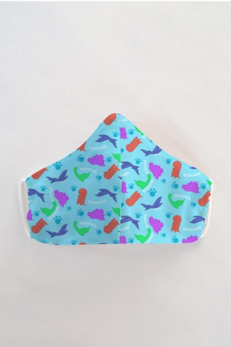 Masca bumbac cu filtru pentru copii - Dino 0