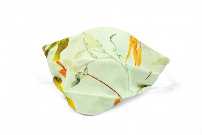 Masca bumbac pentru adulti fara filtru - Floral Crem 1