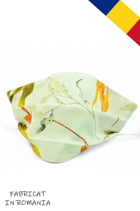 Masca bumbac pentru adulti fara filtru - Floral Crem 0