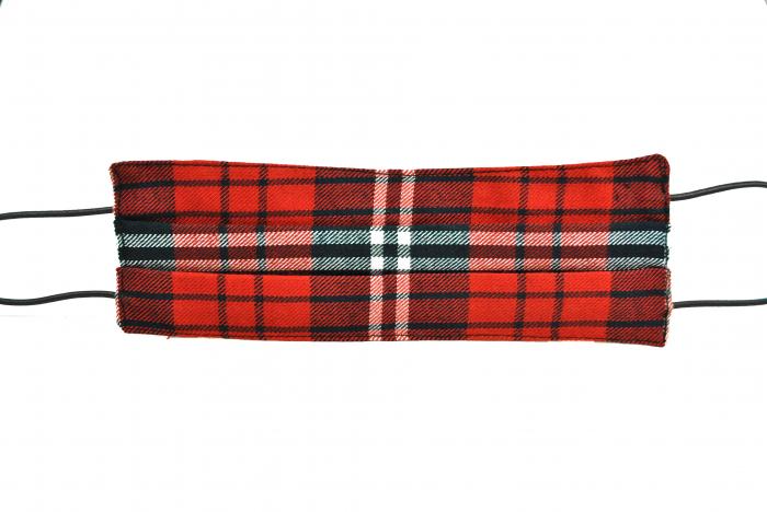 Masca bumbac pentru adulti fara filtru - Carouri Rosii 1