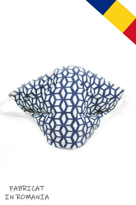 Masca bumbac pentru Copii fara filtru - Geometric albastru 0