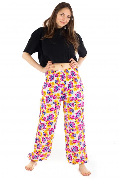Pantaloni cu banda elastica - Painted Flowers [1]