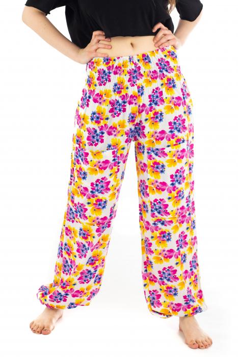 Pantaloni cu banda elastica - Painted Flowers [0]