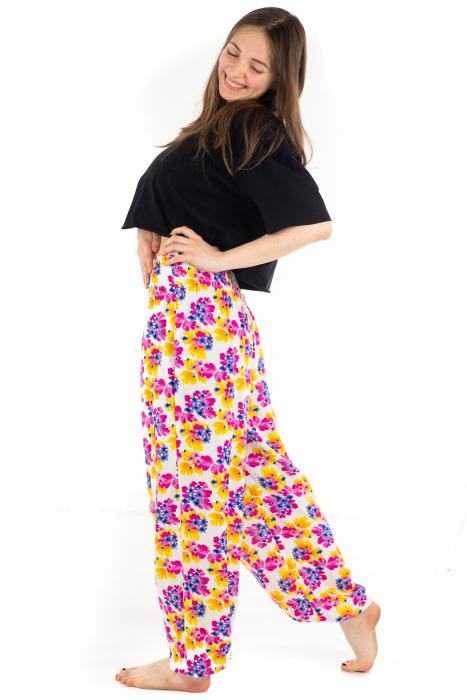 Pantaloni cu banda elastica - Painted Flowers [2]