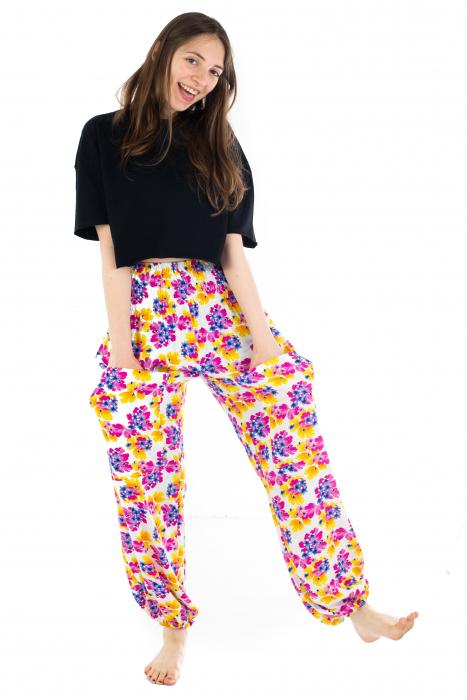 Pantaloni cu banda elastica - Painted Flowers [4]