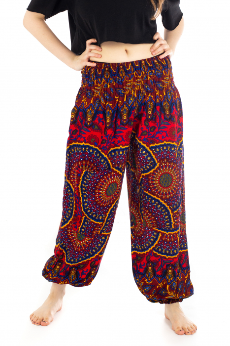 Pantaloni cu banda elastica si motive Mandala [0]