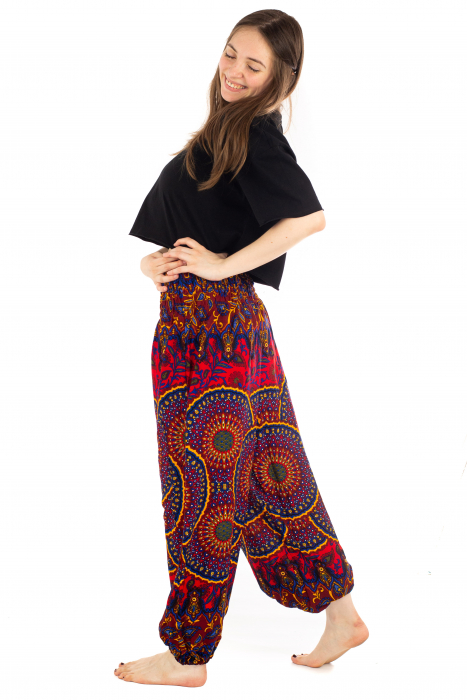 Pantaloni cu banda elastica si motive Mandala [2]
