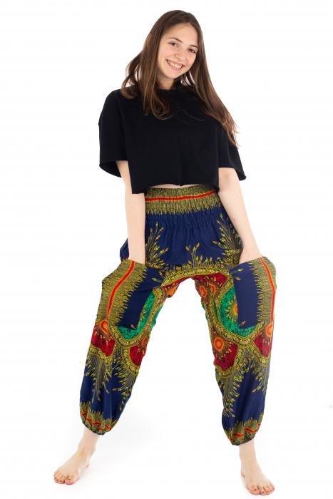 Pantaloni cu banda elastica si motive tip paun - Albastru [4]