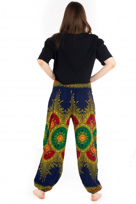 Pantaloni cu banda elastica si motive tip paun - Albastru [3]