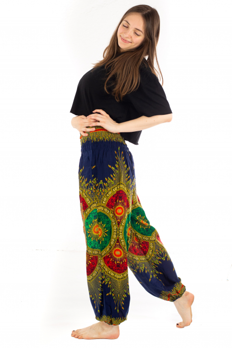 Pantaloni cu banda elastica si motive tip paun - Albastru [2]