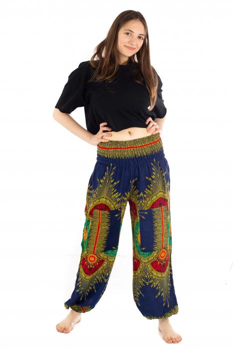 Pantaloni cu banda elastica si motive tip paun - Albastru [1]