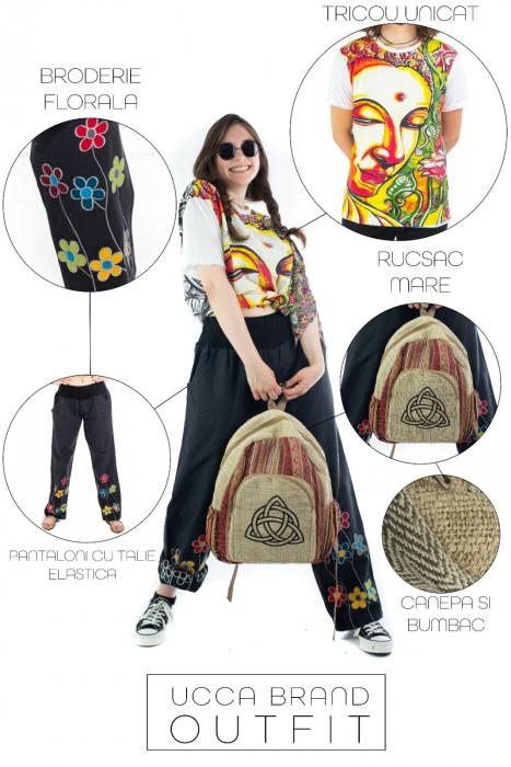 Pantaloni cu talie elastica - Broderie florala [2]