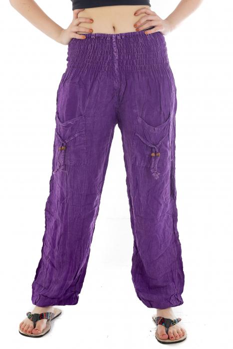Pantaloni cu talie inalta - Purple [0]