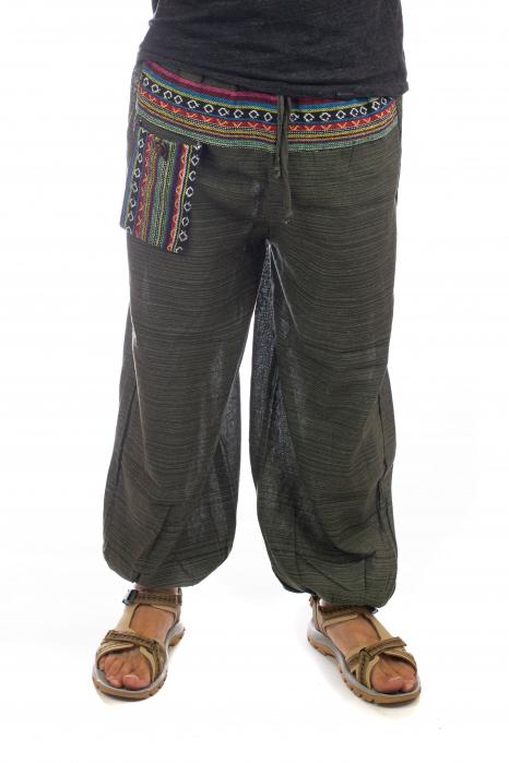 Pantaloni din bumbac cu buzunar exterior - Model 1 0