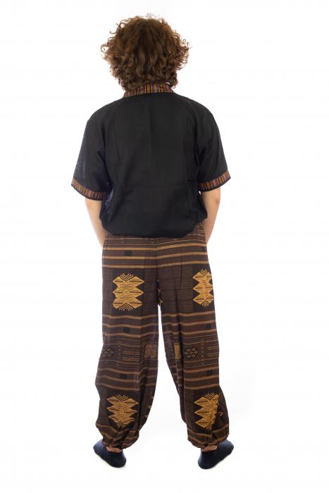Pantaloni din bumbac cu buzunar exterior - Etno - Model 10 4
