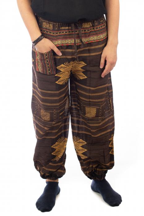 Pantaloni din bumbac cu buzunar exterior - Etno - Model 10 0