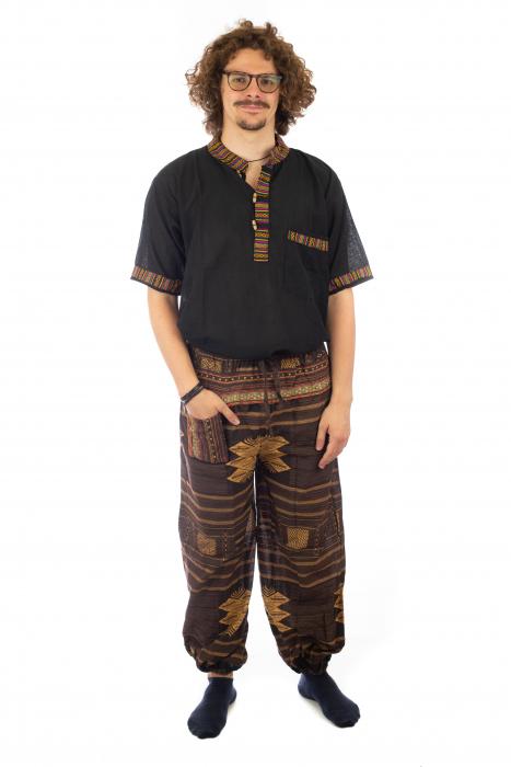 Pantaloni din bumbac cu buzunar exterior - Etno - Model 10 1