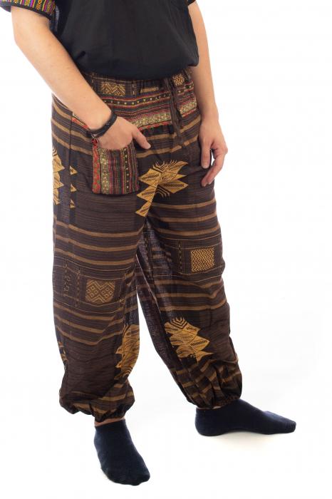 Pantaloni din bumbac cu buzunar exterior - Etno - Model 10 3