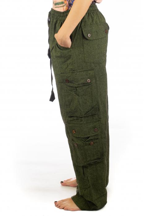Pantaloni din bumbac cu buzunare - Khaki 2