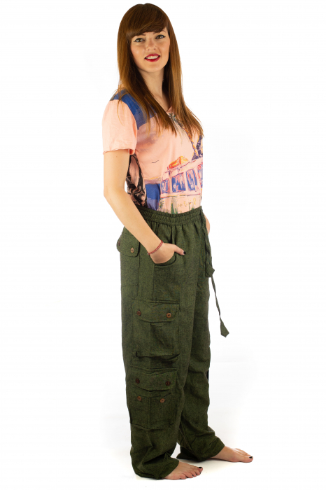 Pantaloni din bumbac cu buzunare - Khaki 5