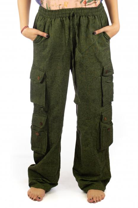 Pantaloni din bumbac cu buzunare - Khaki 0