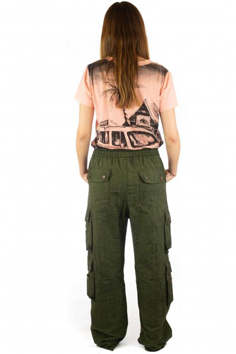 Pantaloni din bumbac cu buzunare - Khaki 7