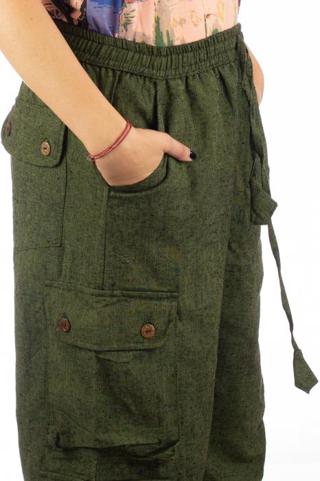 Pantaloni din bumbac cu buzunare - Khaki 6