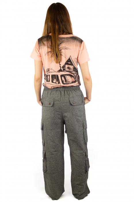 Pantaloni din bumbac cu buzunare - Gri 7