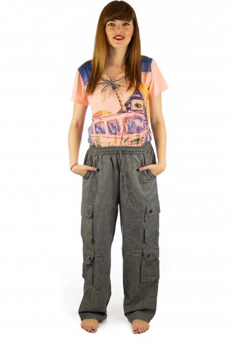 Pantaloni din bumbac cu buzunare - Gri 1