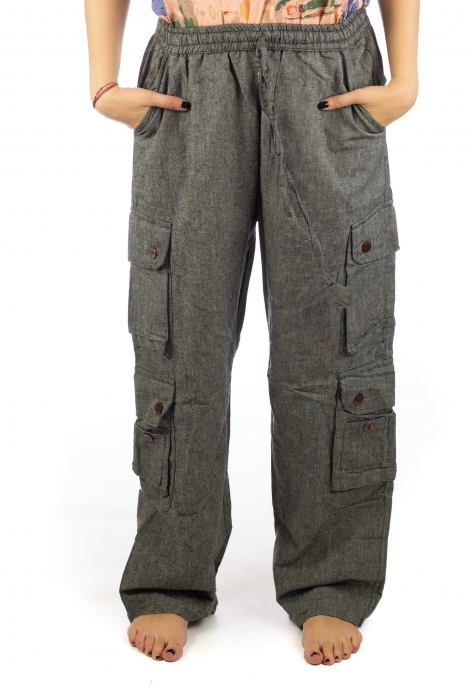 Pantaloni din bumbac cu buzunare - Gri 0
