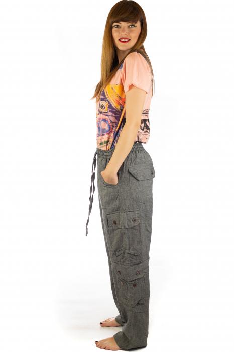 Pantaloni din bumbac cu buzunare - Gri 3
