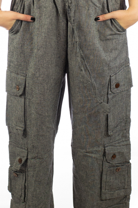 Pantaloni din bumbac cu buzunare - Gri 2