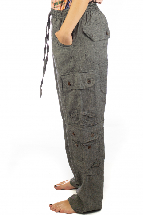 Pantaloni din bumbac cu buzunare - Gri 4