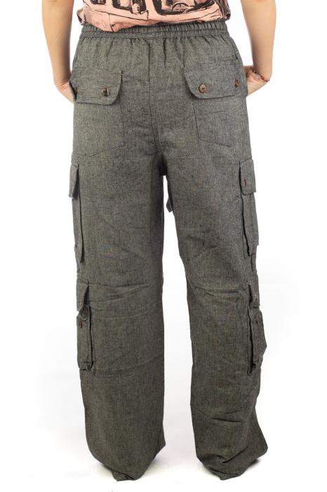 Pantaloni din bumbac cu buzunare - Gri 8