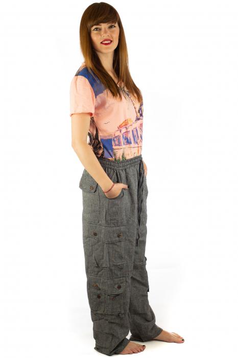 Pantaloni din bumbac cu buzunare - Gri 5