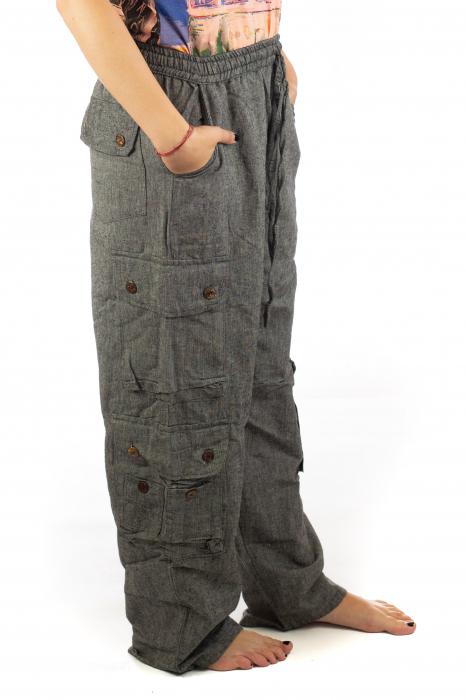 Pantaloni din bumbac cu buzunare - Gri 6