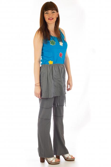 Pantaloni din bumbac cu fusta - Gri 3