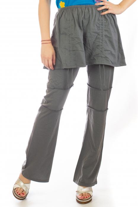 Pantaloni din bumbac cu fusta - Gri 0