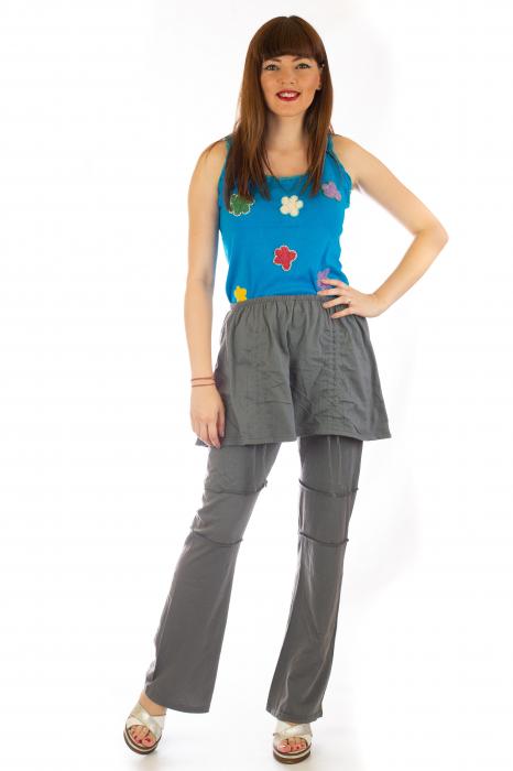 Pantaloni din bumbac cu fusta - Gri 1