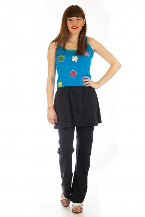 Pantaloni din bumbac cu fusta - Negri 1