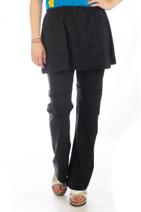 Pantaloni din bumbac cu fusta - Negri 0