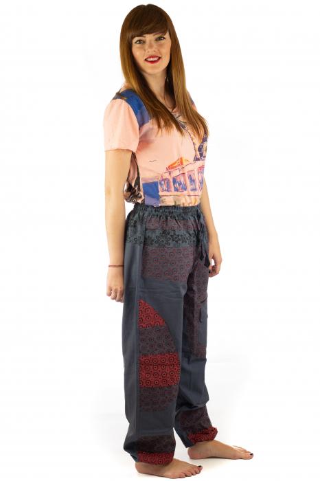 Pantaloni din bumbac cu print - Gri PT140 4