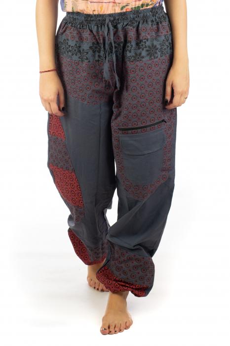 Pantaloni din bumbac cu print - Gri PT140 0