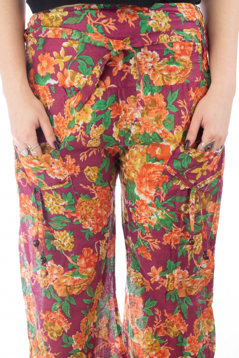 Pantaloni din bumbac subtire - Flower Frenzy - Mov [3]