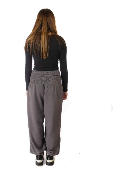 Pantaloni din polar cu banda elastica - Gri 3
