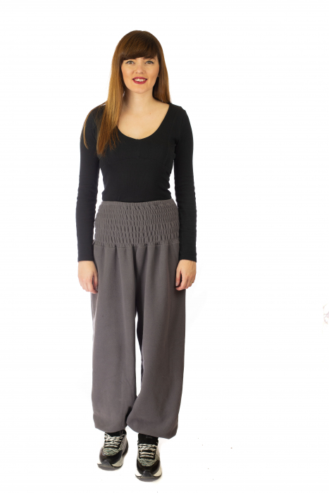 Pantaloni din polar cu banda elastica - Gri 0